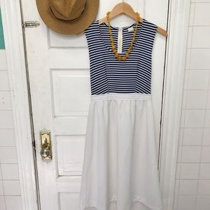 VINTAGE 1970s Nautical Striped Dress